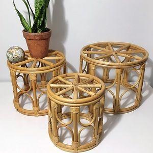 Mid Century  | Rattan Nesting Tables